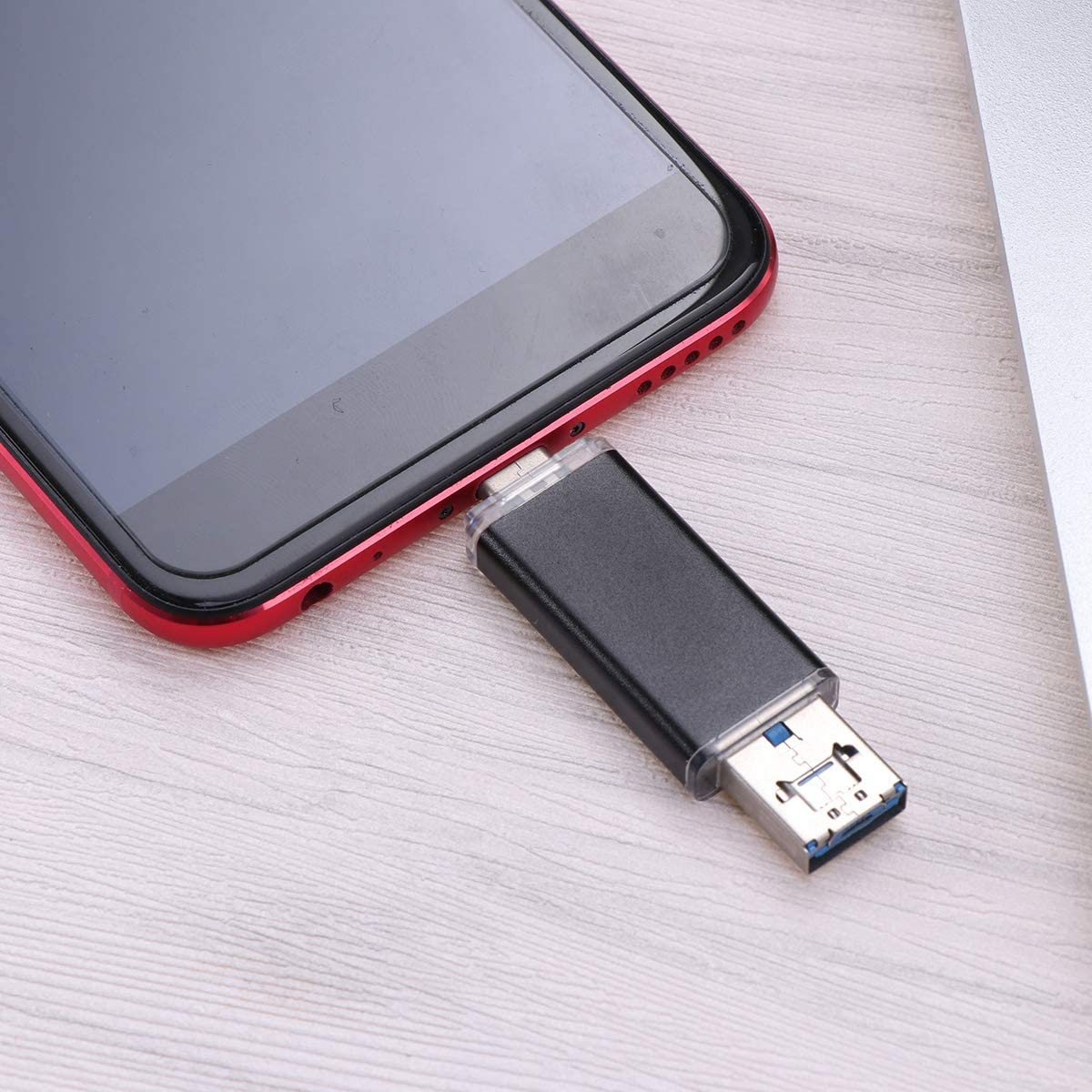 Hemobllo 3 in 1 USB Flash Drive 3.0 Multifunction Connectors Red 32GB