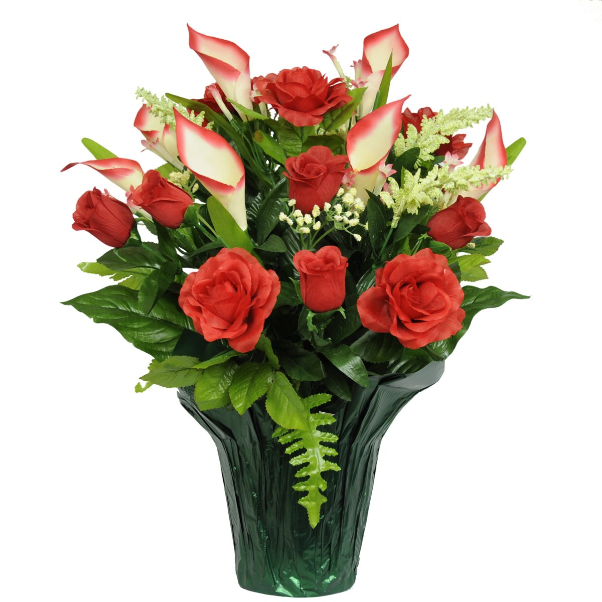 Ruby's Silk Flowers Red Rose and Calla Lily Artificial Weighted Potted Bouquet (PT1140) by Ruby's Silk Flowers