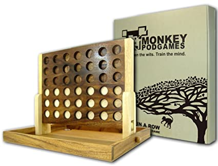 Amazon.com: Monkey Pod Games Extra Large Wooden Four In a Row Game ...