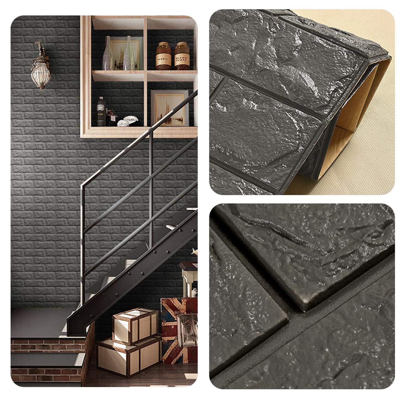 pannelli in schiuma polietilene con adesivo rimovibile per l/'ufficio in soggiorno sq ft 3.875//pcs Carta da parati in mattoni 3D Buio Grigio mattone 5 pezzi
