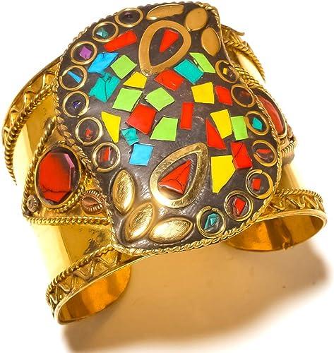 Nepali Work Blue Turquoise Handmade Jewelry Coral Brass Metal Cuff//Bracelet Free Size