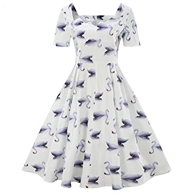 Aworth Retro 50S Rockabilly Robe Pin up Vestido Short Sleeve Swan Print Vintage Dresses Large Size