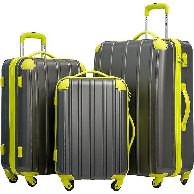Merax Travelhouse 3 Piece Spinner Luggage Set with TSA Lock (Gray & Yellowish Green)