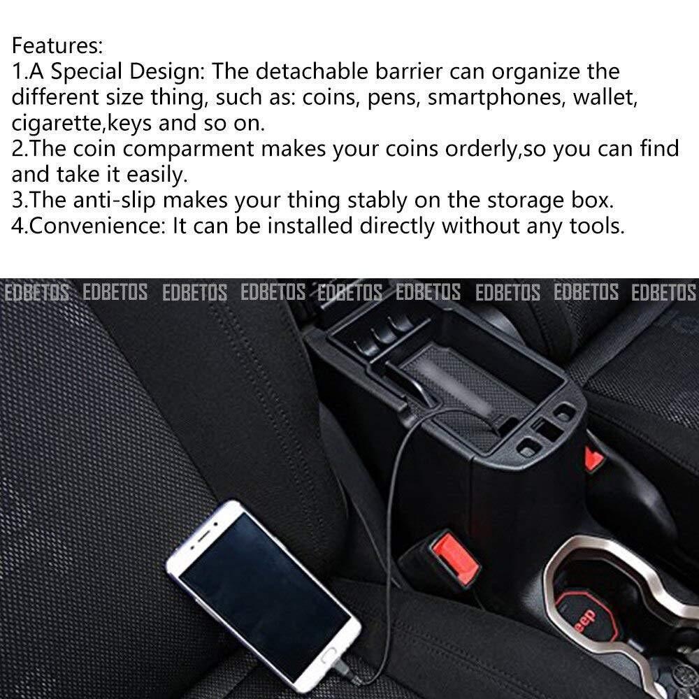 Caja de Almacenamiento de la Consola Central del autom/óvil La Caja de reposabrazos El Almacenamiento Auxiliar es Adecuado para Jeep Renegade 2015-2019