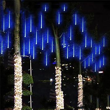 Amazon yiwula led lights meteor shower rain snowfall xmas tree yiwula led lights meteor shower rain snowfall xmas tree garden outdoor blue workwithnaturefo
