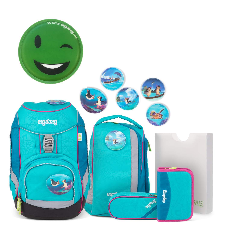 Ergobag Pack Set Schulrucksack HoopBär türkis mit extra Klettie grün