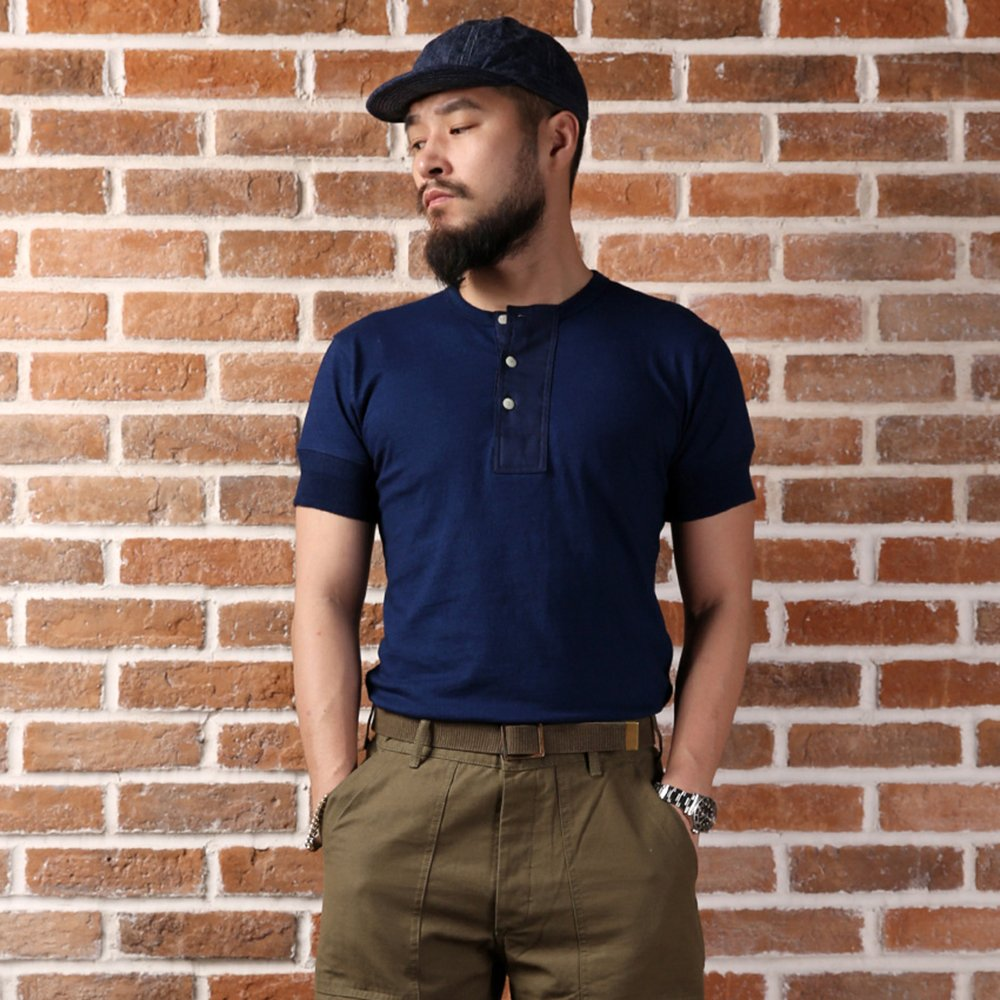 1920s Men's Dress Shirts Bronson Mens Thick Cotton Indigo Blue Short Sleeved Henry T-Shirt $39.99 AT vintagedancer.com