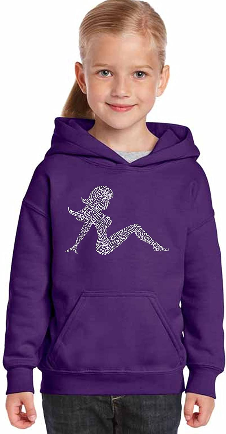 LA Pop Art Mudflap Girl Keep on Truckin Girls Word Art Hooded Sweatshirt