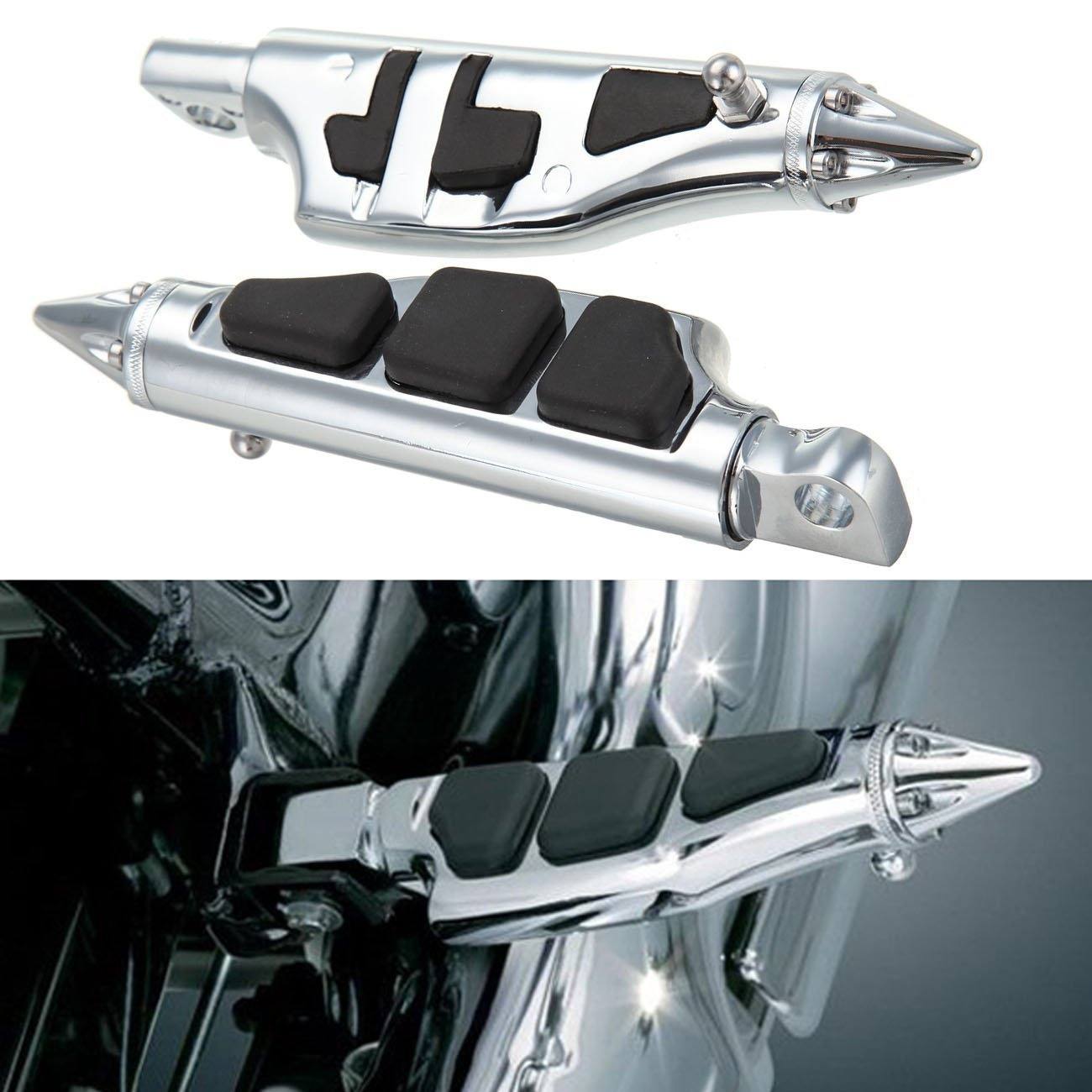 DLLL Universal 2X Motorcycle Rear Passenger Foot Rest Pegs Footpegs Footrest for Harley Softail Sportster Dyna Glide Fat Boy Highway Metric Harley Honda Suzuki Yamaha Custom Cruiser