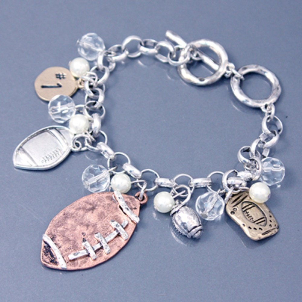 Accessory Accomplice Hammered Finish Football Theme Pearl Bead Charm Bracelet