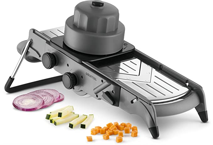 Gourmia GMS9625 Mandolin Slicer and Dicer-All in One V Blade for Julienne Slicing and Dicing- Adjustable Thickness - Stainless Steel Blades-Angled Sta at amazon