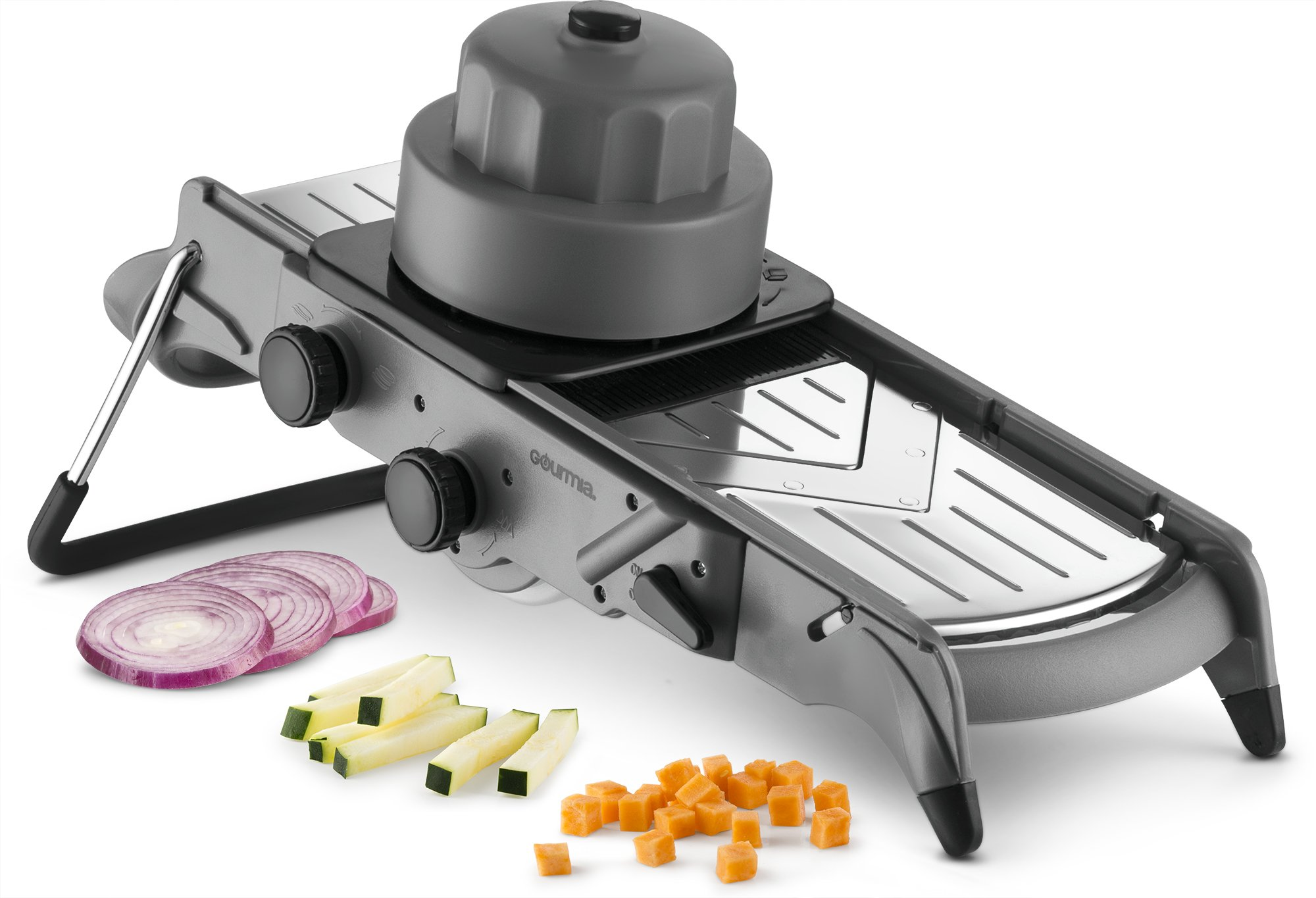 Gourmia GMS9625 Mandolin Slicer And Dicer–All In One V Blade For Julienne Slicing and Dicing- Adjustable Thickness – Stainless Steel Blades-Angled Stand For Easy Chopping BPA Free, Dishwasher Safe