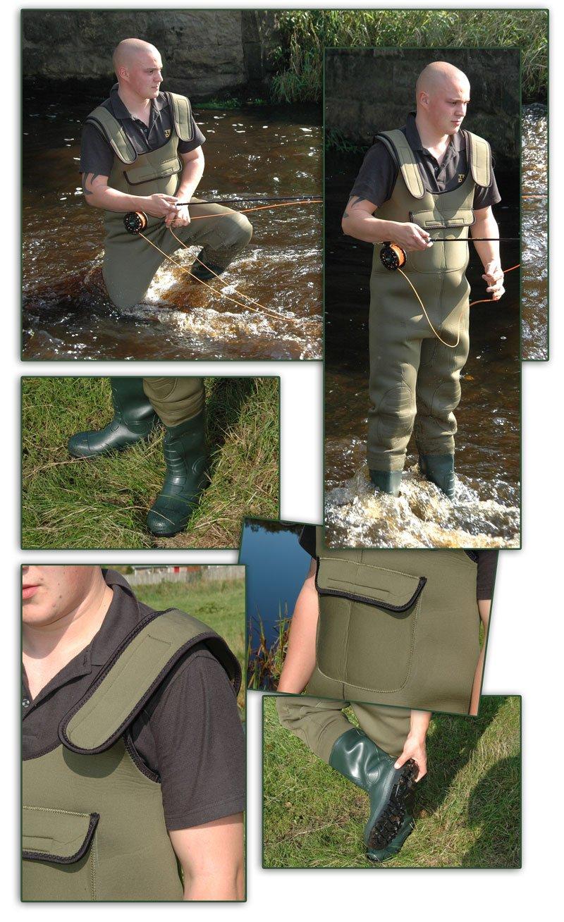 Bison combinaison néoprène avec bottes 4 mm toutes les tailles poche mobile Semelles à crampons