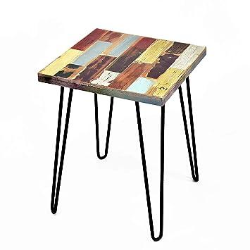 Amazon.com: Wellland Mesa auxiliar de madera reciclada, mesa ...