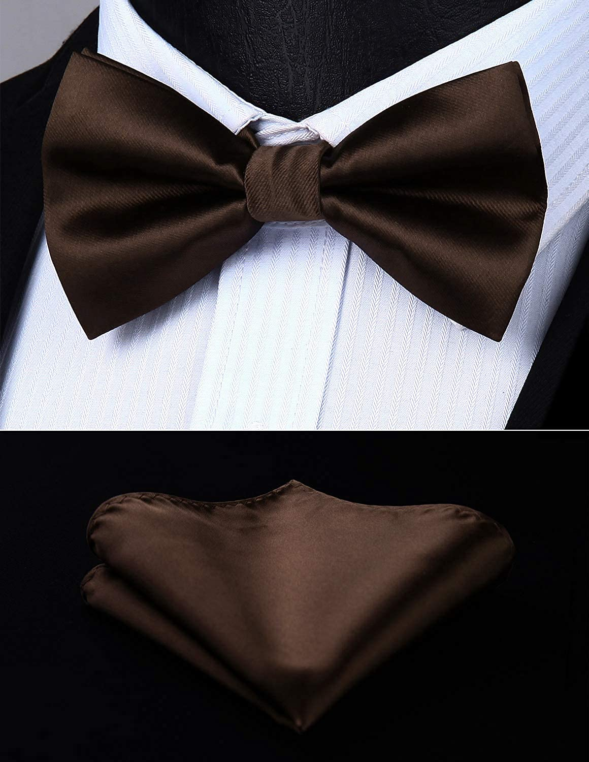 HISDERN Solid Bowtie and Suspenders Set Men Tuxedo Suspender Trouser Braces X-Back with Strong Clips