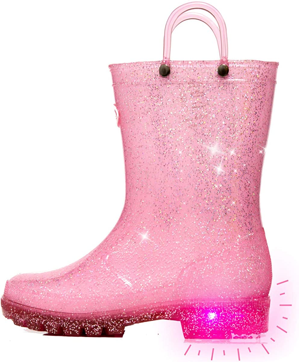 Easy-On Handle 360/°Waterproof Light Up Rain Shoes Boys and Girls Toddles and Little-Kids Rain Boots Rain Shoes Baby and Students Middle Tube Rain Shoes for Kids Cartoon for Four Seasons