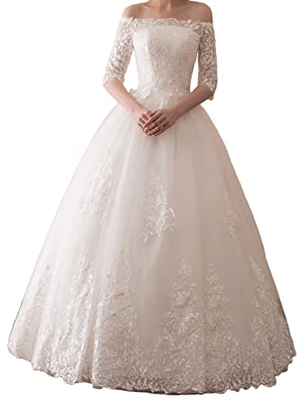 b0c2fc2734 Yiweir Women s Ball Gown Wedding Dress 2018 Long Half Sleeve Off Shoulder  Tulle Lace Formal Bridal Gowns Y30608 at Amazon Women s Clothing store