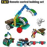 Geekper 4 in 1 Remote Control Building Kits for Kids - RC Car Machines Construction Set - Building Blocks Build Robot Kit (127PCS)