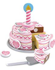 Melissa & Doug Triple-Layer Party Cake, Wooden Play Food, Tiered Wooden Cake, Self-Sticking Tabs, Sturdy Construction, 34.29 cm H x 26.67 cm W x 6.858 cm L
