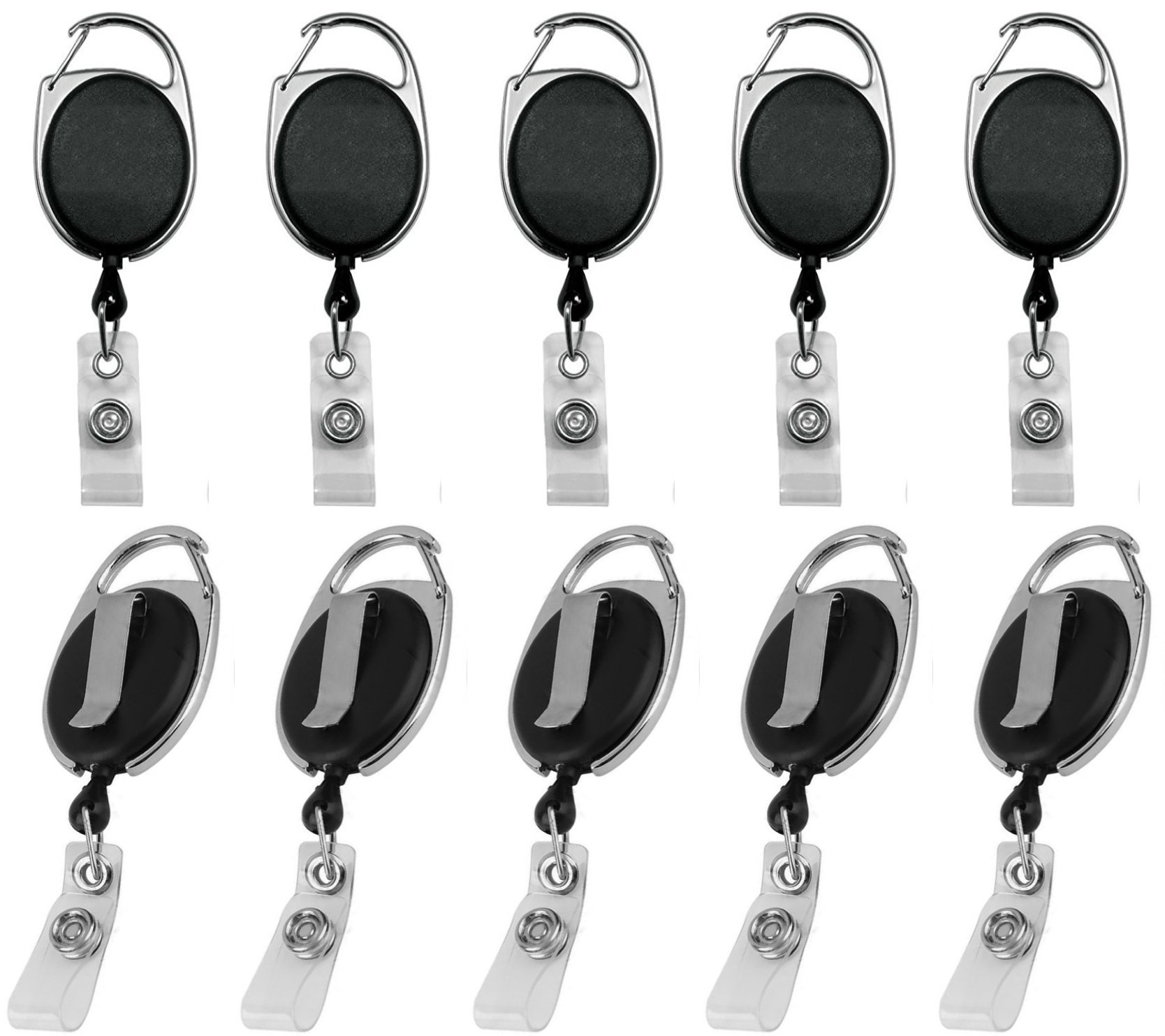 Professional Heavy Duty Retractable Badge Reel for Key Chains, ID Card, Name Tag, Nurse Badges, Lanyards Holder (2 ft. Cord Carabiner with Belt Clip) | Black by Blue Shoe Guys (10-Pack)