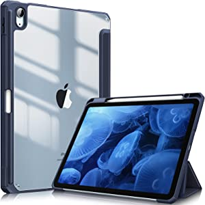 Fintie Hybrid Slim Case for iPad Air 4th Generation 2020 - [Built-in Pencil Holder] Shockproof Cover with Clear Transparent Back Shell, Auto Wake/Sleep for iPad Air 4 10.9 Inch, Navy