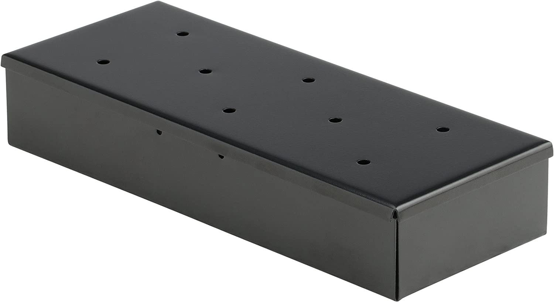 Bruzzzler 1146 carbón y Redonda, Gas, Accesorio de Barbacoa, ahumadora de Acero, Caja de ahumar, Gris (Plateado), 22.5 x 9 x 4 cm