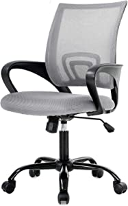 Simple Home Ergonomic Desk Office Chair Mesh Computer Chair, Lumbar Support Modern Executive Adjustable Stool Rolling Swivel Chair for Back Pain, Chic Modern Best Home Computer Office Chair - Grey
