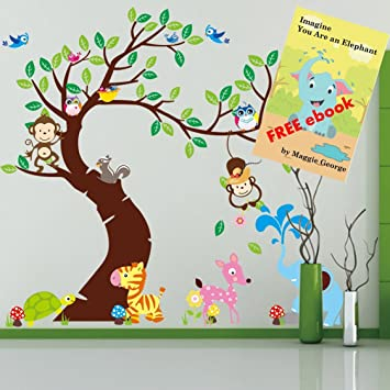 Amazoncom Baby Nursery Wall Decals Jungle Monkey Elephant Zoo - Nursery wall decals jungle
