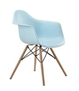 DHP Mid Century Modern Chair with Molded Arms and Wood Legs, Lightweight, Light Blue