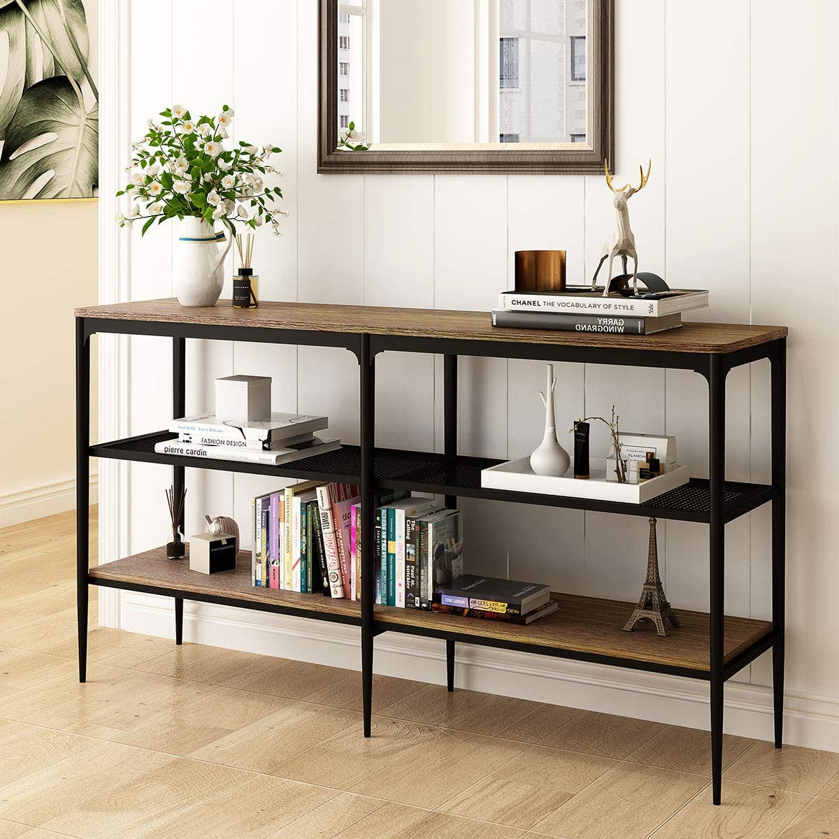 O&K Furniture Industrial Sofa Console Table for Living Room, Entry Table with Open Shelves, Entryway/Hallway Hall Table, Rustic Brown