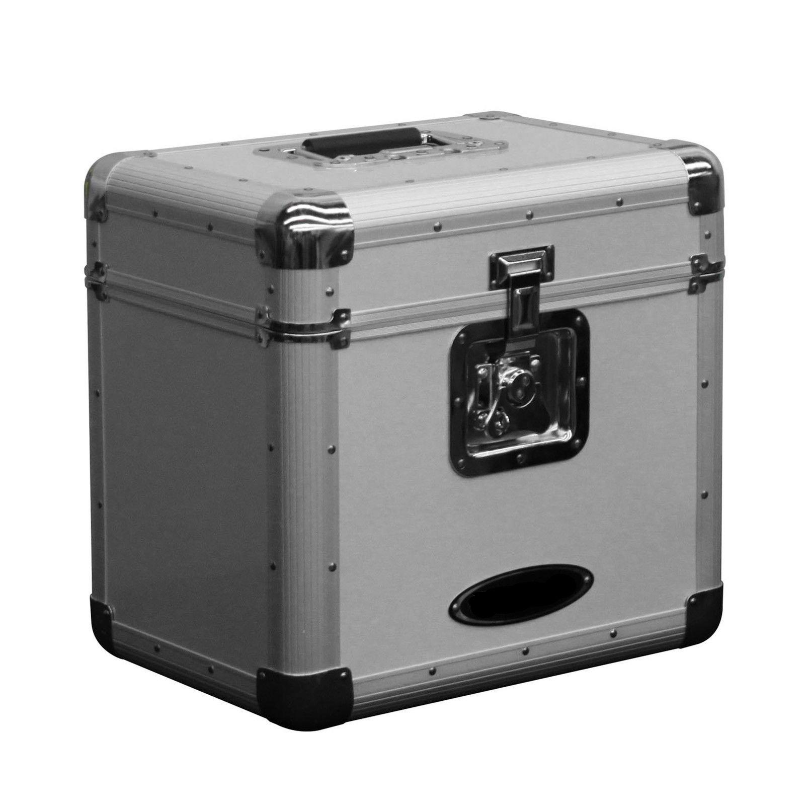 Vinyl Storage Silver Box Transfer 12'' LP Vinyl Records Stacking Utility Krom Transport Travel Lockable Case - Skroutz