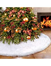 AerWo Faux Fur Christmas Tree Skirt 48 inch Snowy White Tree Skirt for Christmas Decorations