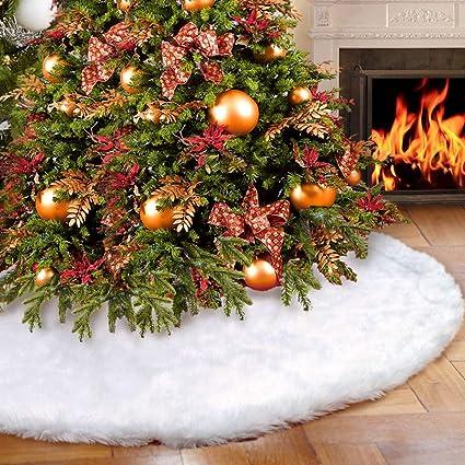 Aytai piel sintética de lujo árbol de Navidad falda 48 pulgadas suave nieve blanco árbol de