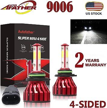 1 Pair 9006 HB4 200W 20000LM COB LED Headlight Conversion Kit 6000K Whie Lamp