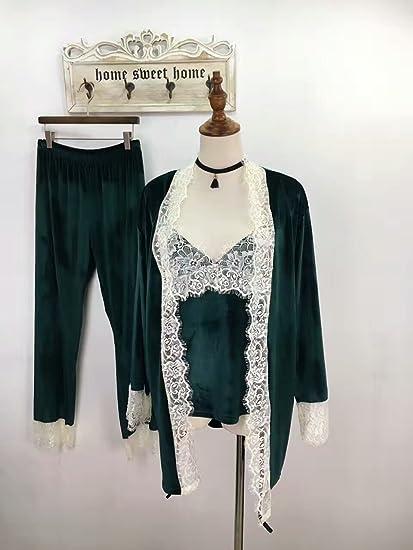 MH-RITA Nuevo Otoño Invierno Womens espesar Velvet Three-Piece ropa informal dormir High
