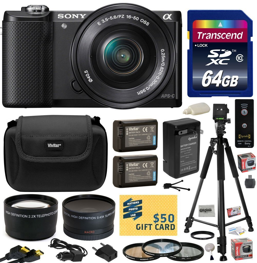 Sony Alpha A5000 20.1 MP Interchangeable Mirrorless Lens Camera with 16-50mm OSS Lens ILCE5000L (Black) with Professional Accessories Bundle Kit includes 64GB Class 10 SDHC Memory Card + x2 Replacement (1200mAh) NP-FW50 Battery + Home Wall Charger with Ca