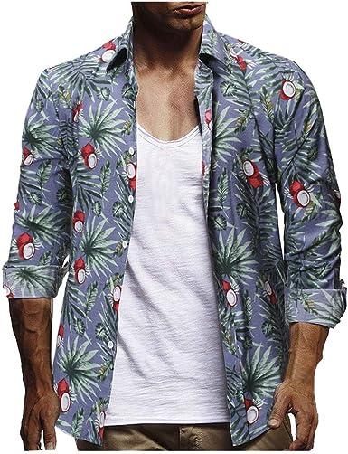 Men Hawaiian Style Button Down Shirt Summer Holiday Fancy Tops Long Sleeve Tee
