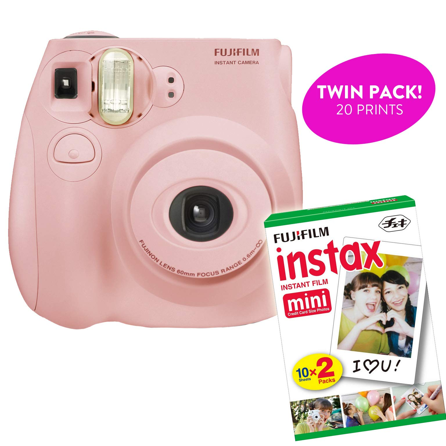 Fujifilm Instax Mini 7S Instant Print Camera (Renewed) Plus Twin Pack of Film Starter Bundle | 10 Sheets x 2 = 20 White Frame Instant Exposure Photograph Sheets (Light Pink) by Certified Amazing