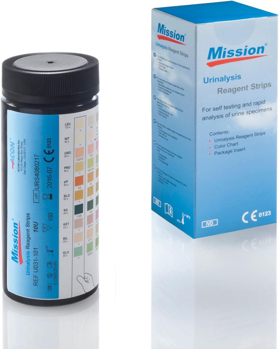 Tira reactiva Mission 10 U - 100 tiras: Amazon.es: Salud y ...