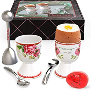 Mevis Line Egg Cups for Soft Boiled Eggs, Includes 2 Egg Holder, 2 SS Spoons, 1 Egg Timer and 1 SS Egg Topper Cracker