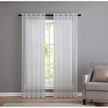 2 Pack: Basic Rod Pocket Sheer Voile Window Curtain Panels in White by GoodGram (52 in. Wide x 84 in. Long, Each)