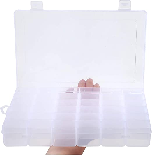 24 Grid Beads Rubber Bands Loom Kit Jewelry Display Case Storage Box WO