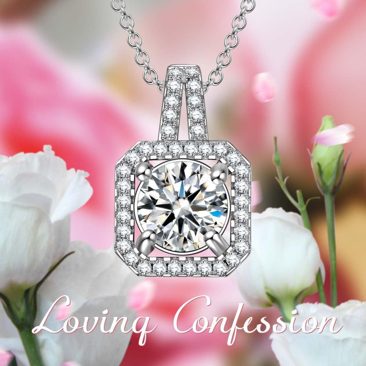 Cadeau Femme 3A Zirconium cubique SIVERY Confession damour Collier Femme Mode 925 Sterling Argent Bijoux Femme