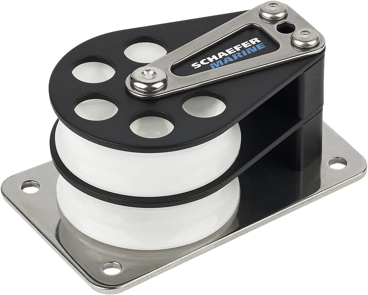 Schaefer 5 Series Double Cheek Block with Aluminum Cheek Stainless Steel Base and Aluminum Sheave