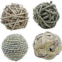 POPETPOP 4 unids Grass Weave Ball Chew Toys