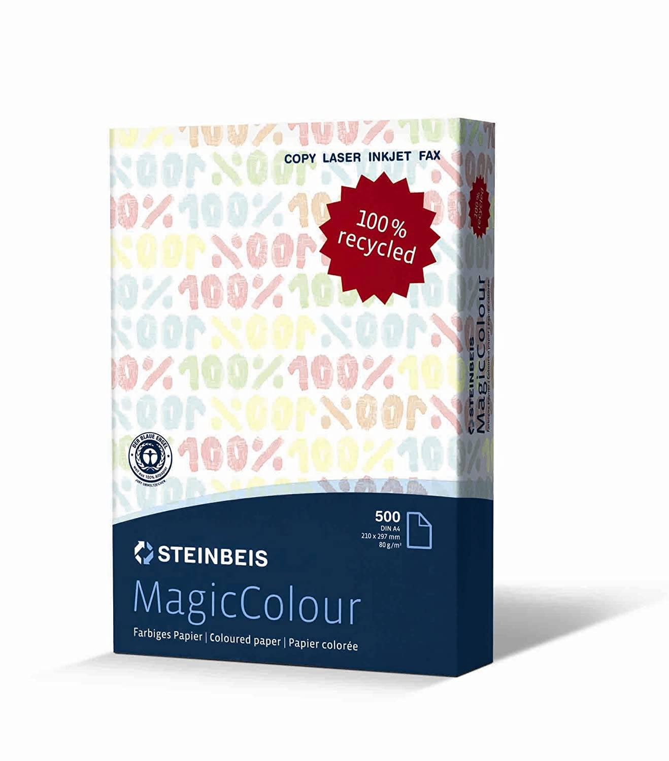 STEINBEIS A4 PRINTING PAPER 100/% RECYCLED CLASSIC WHITE 80gsm 5 REAM 2500 SHEETS