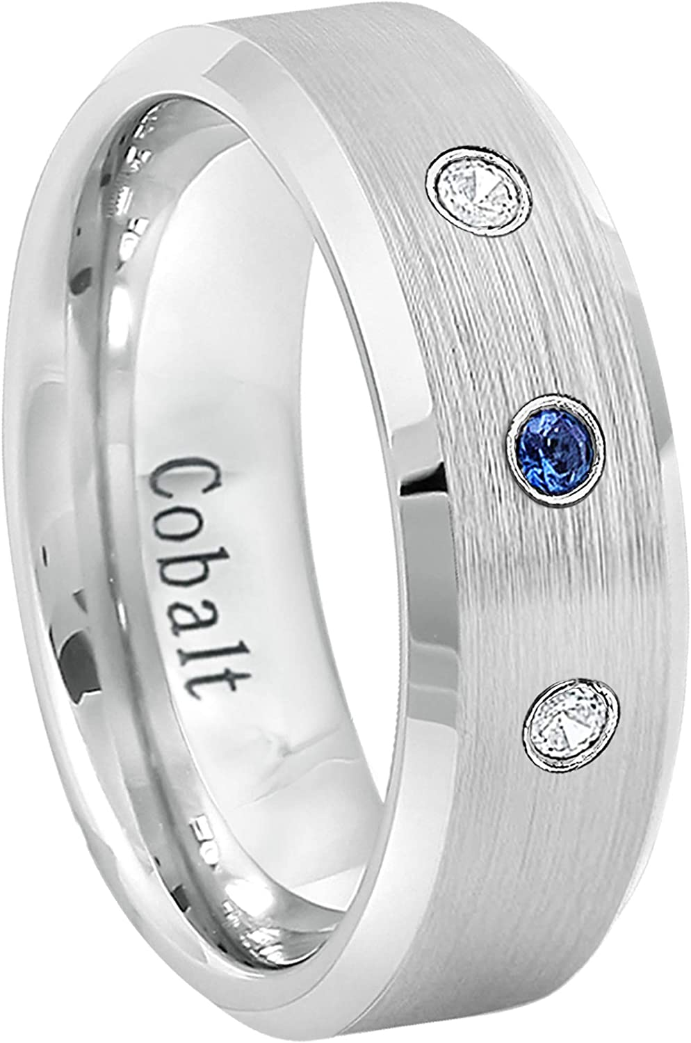 Engagement Band September Birthstone Ring 8mm Polished Comfort Fit Classic Dome Cobalt Chrome Wedding Band Anniversary Ring Jewelry Avalanche 0.21ctw Yellow Sapphire 3-Stone Ring