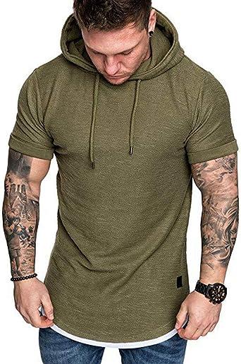 Fit Hoodies Hooded Tops Muscle Slim Tee Sleeve Short Shirts T-shirt Men/'s Casual