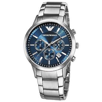 Reloj para hombre de EMPORIO ARMANI, modelo AR2448, de cuarzo, con esfera azul, de acero inoxidable, con cronógrafo: Amazon.es: Relojes