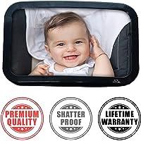 Espejo retrovisor Mucho Más grande para bebé | Vigile a su bebé de manera segura en el asiento trasero para automóvil | Instalación fácil en el reposacabezas para una visión amplia y clara | Vidrio acrílico inastillable